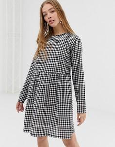 Свободное платье в клетку с длинными рукавами Daisy Street - Черный