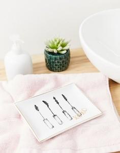 Поднос для украшений с рисунком в виде туши для ресниц Candlelight - Белый