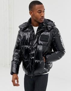 Блестящая черная дутая куртка со съемным капюшоном Calvin Klein - Черный