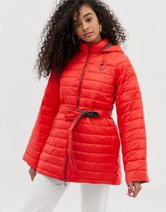 Стеганое пальто с контрастной подкладкой Emporio Armani - Красный