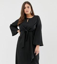 Черное платье миди с завязкой спереди Missguided Plus - Черный