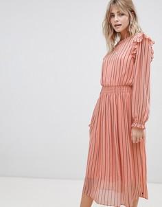 Платье с принтом и эластичным поясом Maison Scotch - Розовый