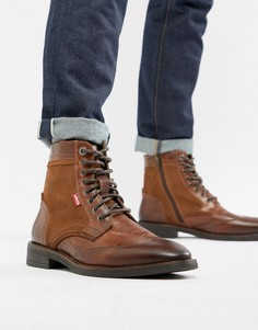 Коричневые кожаные ботинки с замшевыми вставками Levis whitfield - Коричневый Levis®
