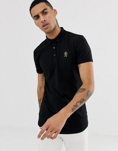 Черная футболка-поло с золотистым логотипом Gym King - Черный