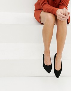 Черные туфли на плоской подошве с заостренным носком Boohoo - Черный