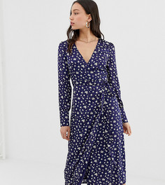 Атласное платье миди с запахом и цветочным принтом в винтажном стиле Glamorous Tall - Темно-синий