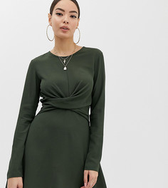 Зеленое короткое приталенное платье с запахом Boohoo - Зеленый
