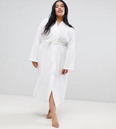 Удлиненный халат миди из 100% хлопка с вафельной текстурой ASOS DESIGN Curve - Белый
