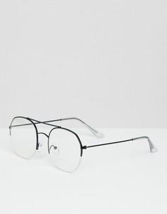 Черные очки-авиаторы с прозрачными стеклами Bershka - Черный