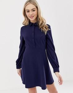 Платье-рубашка мини на пуговицах ASOS DESIGN - Темно-синий