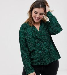 Блузка в стиле блейзера с анималистичным принтом и пуговицами Influence Plus - Зеленый