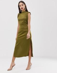 Атласное платье миди с разрезами и драпированными проймами ASOS DESIGN - Зеленый