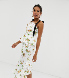 Платье-футляр миди с плиссировкой на лифе и поясом ASOS DESIGN - Мульти