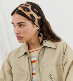 Повязка на голову с леопардовым принтом Monki - Коричневый