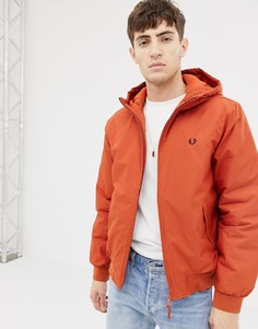 Оранжевая дутая куртка с капюшоном Fred Perry - Оранжевый