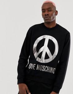 Свитшот с логотипом Peace Love Moschino - Черный
