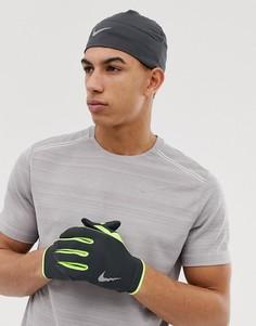 Серая шапка и перчатки Nike Running - Серый