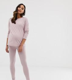 Комбинируемые пижамные леггинсы из меланжевого трикотажа ASOS DESIGN Maternity - Розовый