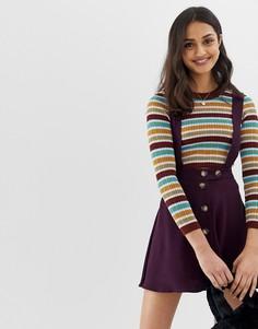 Мини-юбка на пуговицах с сарафанными бретельками ASOS DESIGN - Фиолетовый