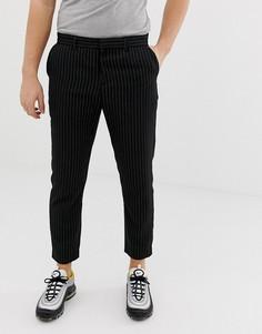Черные укороченные облегающие брюки в тонкую полоску Bershka - Темно-синий