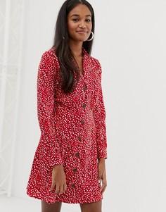 Платье с воротником на пуговицах и принтом Influence - Красный