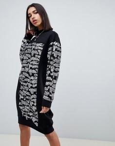 Платье-свитшот в стиле oversize со звериным принтом и пайетками ASOS DESIGN - Черный