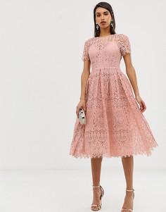 Кружевное платье миди с открытой спиной ASOS DESIGN - Розовый