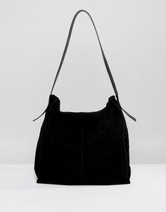Замшевая сумка на плечо ASOS DESIGN - Черный