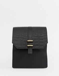 Кожаная сумка почтальона ASOS DESIGN - Черный