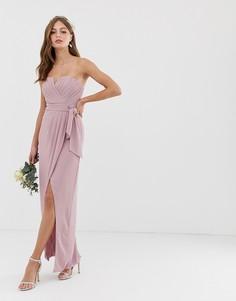 Эксклюзивное розовое платье-бандо мидакси с плиссировкой и запахом TFNC bridesmaid - Розовый