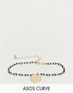 Золотистый браслет-цепочка с подвеской ASOS DESIGN Curve - Золотой