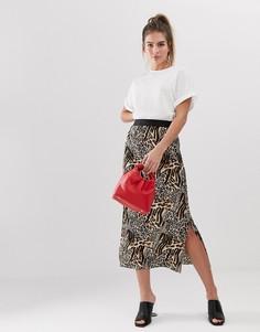 Плиссированная юбка миди с леопардовым принтом New Look - Коричневый