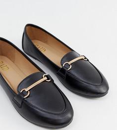 Черные туфли для широкой стопы на плоской подошве с пряжками RAID Viera - Черный