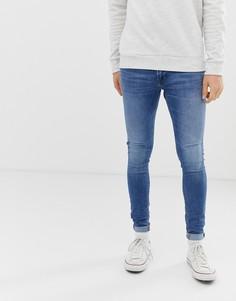 Синие зауженные джинсы с напылением Jack & Jones - Синий