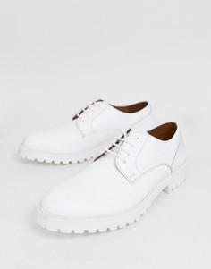 Белые кожаные туфли-дерби на толстой подошве ASOS DESIGN - Белый