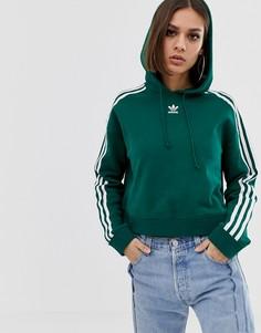 Зеленый короткий худи adidas Originals adicolor - Зеленый