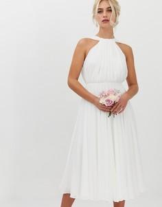 Свадебное платье миди с халтером и V-образным вырезом на спине ASOS EDITION - Белый