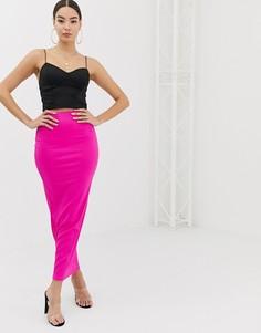 Неоново-розовая юбка макси в рубчик Boohoo - Розовый