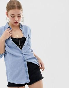 Светлая джинсовая oversize-рубашка Noisy May - Синий
