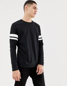 Черный лонгслив с полосами на рукавах Esprit - Черный