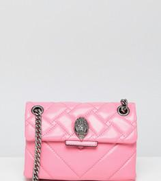 Розовая кожаная сумка через плечо с шевронной отделкой Kurt Geiger Mini Kensington - Розовый