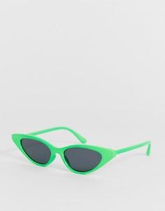 Солнцезащитные очки кошачий глаз с пластиковой оправой неоново-зеленого цвета и затемненными стеклами ASOS DESIGN - Зеленый