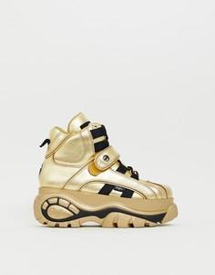 Золотистые высокие кроссовки с толстой подошвой Buffalo Classic - Золотой