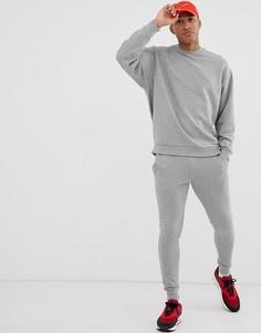Серый меланжевый спортивный костюм из oversize-свитшота и зауженных джоггеров ASOS DESIGN - Серый