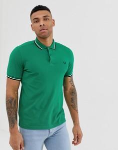 Зеленая футболка-поло с логотипом и окантовкой Fred Perry - Зеленый