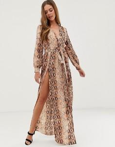 Платье макси со змеиным принтом и разрезами по бокам In The Style Billie Faiers - Мульти