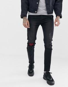 Выбеленные черные джинсы скинни с потертостями и нашивками в клетку Liquor N Poker - Черный