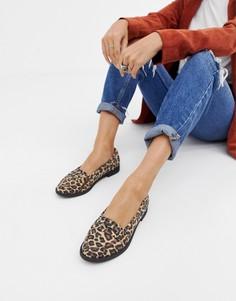 Туфли на плоской подошве с леопардовым узором ASOS DESIGN - Мульти