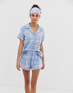 Пижама в клетку с отложным воротником и маска для сна Chelsea Peers - Мульти