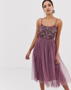 Платье миди на бретелях с декоративной отделкой Maya - Фиолетовый